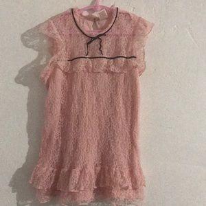Arizona Jean Company Shirts & Tops - Blush pink lace sleeveless blouse for girls